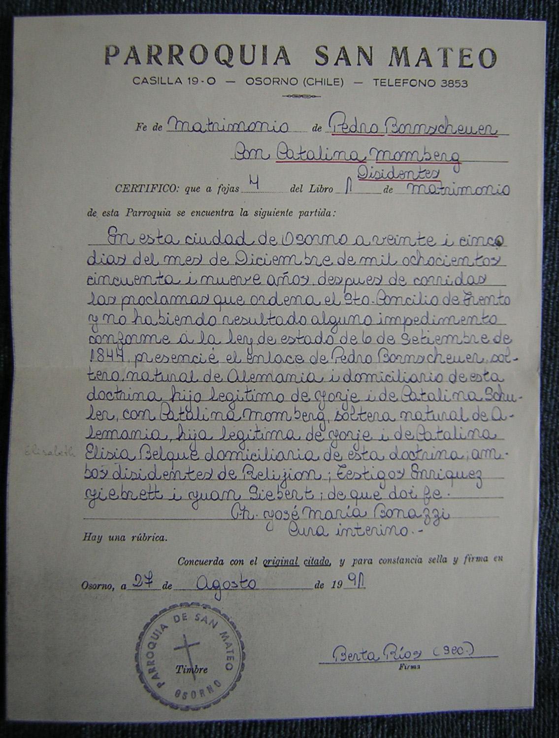 Certificado De Matrimonio Catolico : Familia bornscheuer genealog cl
